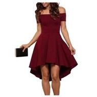 現貨供應[6410701]小資平價禮服坊-時尚歐美款酒紅色前短後長一字領顯瘦洋裝