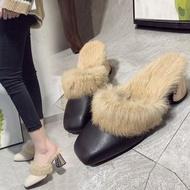 毛毛拖鞋女外穿新款秋冬韓版高跟兔毛鞋拖百搭粗跟包頭半拖鞋