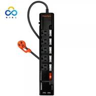 群加 PowerSync 【最新安規】6開5插防雷擊3.1A USB延長線/黑色/1.8m (TPS365UB0018)