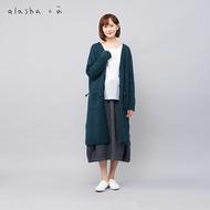 a la sha+a  雙色圍巾裝飾長版針織外套