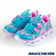 SKECHERS HEART LIGHTS 女嬰童燈鞋系列 藍綠 / 粉 魔鬼氈 運動鞋 小中童 NO.R4390