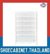6 ชั้น สีขาว ตู้รองเท้าอลูมิเนียม กันน้ำกันปลวก ตู้รองเท้า ชั้นวางรองเท้า กล่องใส่รองเท้า ตู้อเนกประสงค์ ALUMINIUM SHOE CABINET