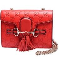 【GUCCI 古馳】369622 Emily Guccissima系列雙G壓紋流蘇造型牛皮鍊帶斜肩包(紅色)