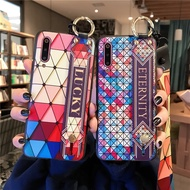 Lanyard Strap Case for oppo R9 R11S R15 R17 Cases Lattice Holder Colored Coque for OPPO RENO X10  Cover Phone Wristband Cases.