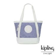 【KIPLING】渡假海灘風紫藍X白撞色拼接織料肩背托特包-SIDRA
