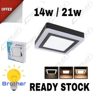 "LED 14W 7"" / 21W 9"" Surfacemount Downlight Ceiling Light Square warm white 3Step Colour Downlight"