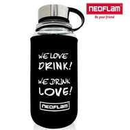 【NEOFLAM】耐熱玻璃運動水壺1000ML+潛水布杯套-黑色
