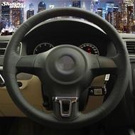 Black leather Steering Wheel Cover for Volkswagen Golf 6 Mk6 VW Polo Jetta Mk6