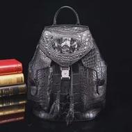 หรูหราคุณภาพ100%จริงแท้จระเข้ผิวที่เดินทางมาพักผ่อนผู้หญิงกระเป๋าเป้สะพายหลังกระเป๋าสีดำ...