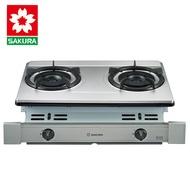 櫻花牌 G6700KS 專利雙內燄大爐頭不鏽鋼崁入式雙口瓦斯爐