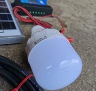 ชุดนอนนา 10 w แผง 10w  ชุดโซล่าเซลล์ พลังงานแสงอาทิตย์ 12V ชาร์จเจอร์ แบต 5A หลอดไฟ LED