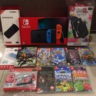 全新未拆 Nintendo 任天堂 NS Switch 台灣公司貨 主機 紅藍 含硬殼包 保護貼 含遊戲 健身環大冒險