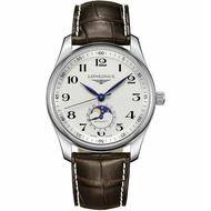 LONGINES 浪琴錶 L29094783 巨擘系列月相腕錶 皮帶款 / 白面 40mm