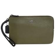 COACH綠白拼色荔枝紋全皮拉鍊雙層大款手拿包