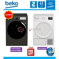 Beko 10.5kg Front Load Washer WTE10745X0MA + Beko Heat Pump Dryer Package PDS7405XW3 / DS8433RX1M / DHX83420W + Gift