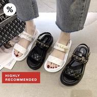 ✨รองเท้ารัดส้น✨ รุ่นชานุม 💫 CHANUM 2 สีคลาสสิคขาวดำ อะไหล่ทอง มีสไตล์สุด ใส่ง่าย รองเท้าผู้หญิง รองเท้าคัชชู