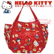 〔小禮堂〕Hello Kitty 帆布托特包《L.紅格.和風.陀螺.彩球》手提包.肩背包.外出包