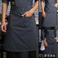 圍裙廚師牛仔半身圍裙工作服酒店后廚廚房半截工作圍腰廚師長圍裙 交換禮物