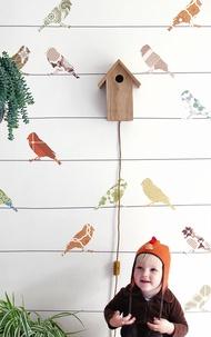 INKE / Vogels Bont IK2030 【訂貨單位:4張壁畫/1套】 兒童房壁紙 可愛動物牆紙 小鳥 拼貼