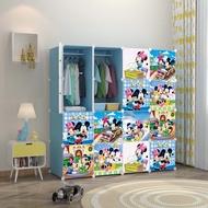 [READY STOK] Mickey Blue 16C DIY Rack Storage Cabinet Wardrobe With Almari Hanger Rak Baju Kanak Kanak