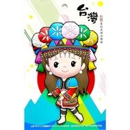 【橡膠冰箱貼 / 大型原住民族系列-鄒族少女(A14-L)】(紀念品 原住民)