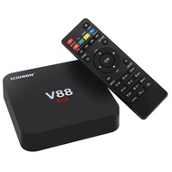 v88 android tv box - rk3229 cpu  4k  android 5.1  kodi  wifi  3d movie support  4 x usb  sd card slot with american plug