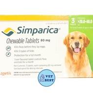 Simparica (สุนัข 20-40 กก) กำจัดเห็บ หมัด ขี้เรื้อน ไรหู (3เม็ด/กล่อง) EXP: 10/2020 +ส่ง KERRY+