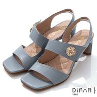 DIANA 6.7cm質感羊皮方頭寬板金屬釦魔鬼氈露趾高跟涼鞋-灰藍