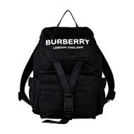 BURBERRY WILFIN白字LOGO尼龍扣式後背包(小/黑)
