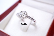 แหวนทองคำขาว CHANNEL เพชรน้ำ100 เม็ดละ 0.05 กะรัต ขาวสวยไฟดี พร้อมใบรับรองสินค้า เคลือบทองคำขาวแท้100%