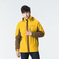 歐都納 GORE-TEX 男款防水二件式羽絨外套 A-G1623M 芥黃/深棕