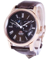 Orient Sun And Moon Men's Brown Leather Strap Watch ET0T003T