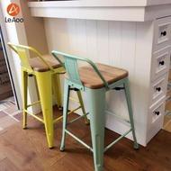 吧台椅 定制loft工業風高腳鐵藝酒吧椅鐵凳子簡約家用吧台椅帶靠背實木吧凳