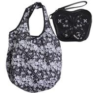 ANNA SUI 亮片黑蝴蝶造型手拿機能購物袋手拿包套裝組(黑/玫瑰圖騰購物袋)