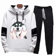 Men's animal dog print casual long-sleeved hoodie set