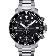 TISSOT 天梭 Seastar 1000 海洋之星300米潛水計時錶-黑x銀/45mm