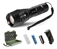 LED Tactical Flashlight,SDFLAYER T6 High Powered Handheld Torch with Rechargeable 18650 Lithium Ion Battery and Charger