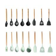 日式櫸木 高耐熱矽膠 廚具8件組 鍋鏟 湯杓 刮刀 廠商直送 現貨
