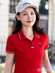 女裝2019新款潮短袖t恤女韓版大碼寬鬆運動上衣棉體恤翻領polo衫