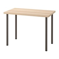 ADILS/LINNMON 書桌/工作桌, 染白橡木紋/深灰色