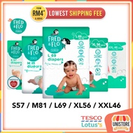 Tesco Lotus FRED & FLO Tape Diaper Disposable Baby Diapers: pampers Drypers Bayi Lampin Pakai Buang SMLXLXXL pamper