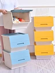 家用斜口馬卡龍簡約收納箱前開翻蓋客廳廚房整理箱兒童玩具儲物箱