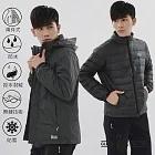 【遊遍天下】男款旗艦版二件式GlobeTex防水透濕外套+無縫JIS90拒水羽絨外套(25006)L黑灰
