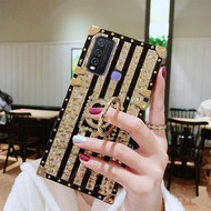 Untuk VIVO Y50 / VIVO Y30 / VIVO Y30i Laser 3D Bunga Pola Persegi Mewah Flash Cincin Ponsel Case Wanita Fashion Stand Shockproof Lembut TPU Silikon Back Cover