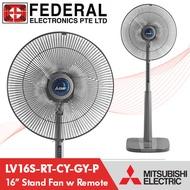 Mitsubishi LV16S-RT-CY-GY-P 16inch Stand Fan with Remote / Classy Grey / 3yr Motor Warranty