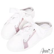 【Ann'S】第二代夢幻獨角獸緞帶全真皮穆勒小白鞋(白)