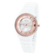 NATURALLY JOJO浪漫晶鑽珍珠貝陶瓷腕錶-白X玫瑰金