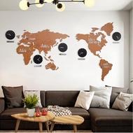 超大世界地圖創意墻壁掛鐘北歐式實木鐘表現代時尚客廳裝飾時鐘