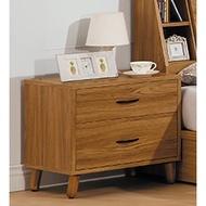 【專業傢俱】肯詩特柚木色床頭櫃二抽櫃/小櫃/邊櫃/床邊櫃/全新品【桃園以北免運費】
