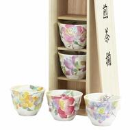 《富樂雅居》日本製 美濃燒 和藍 花海角 煎茶碗 煎茶揃 茶杯組 ( 五個入 / 附木箱 ) 03121